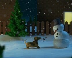 zima pies i bałwanek